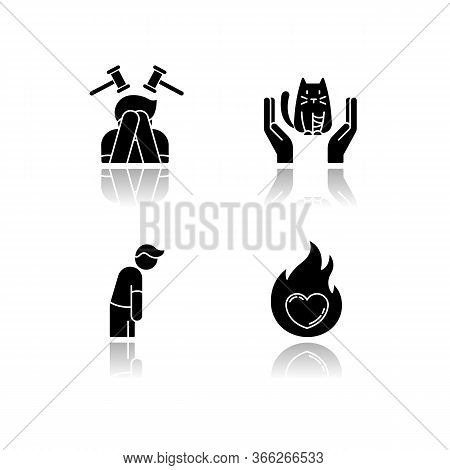 Human Emotion Drop Shadow Black Glyph Icons Set. Remorse For Psychological Healing. Mental State. Fe
