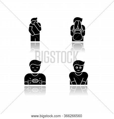 Human Behaviour Drop Shadow Black Glyph Icons Set. Feeling Of Shame. Man With Self Blame. Social Emo