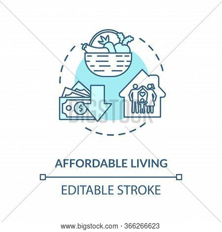 Affordable Living Turquoise Concept Icon. Residential Property Rent. Family House. Economy On Home.