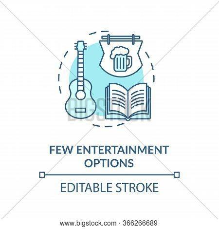 Few Entertainment Options Turquoise Concept Icon. No Music Event. Leisure In Pub. Village Lifestyle
