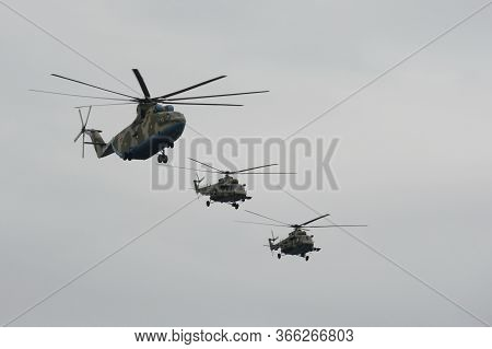 Moscow, Russia - May 9, 2020:mi-26 Military Transport And Mi-8amtsh Multi-purpose Helicopters During