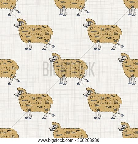 Seamless French Farmhouse Sheep Charcuterie Butcher Pattern. Farmhouse Linen Shabby Chic Style. Hand