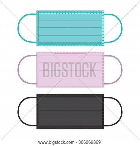Flu Protection Masks Isolated On White Background, Pollution And Virus Respiratory Protective Cover.
