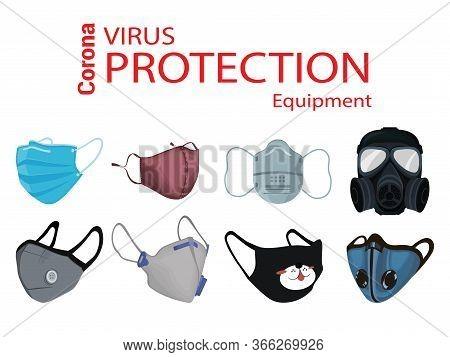 Safety Medicine Mask And Respirator Set. Medicine And Industrial Safety Masks. Virus Protection Conc