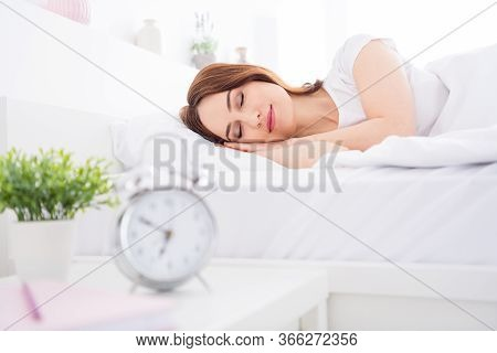Portrait Of Her She Nice Attractive Lovely Pretty Calm Peaceful Red Haired Girl Lying In Bed Sleepin