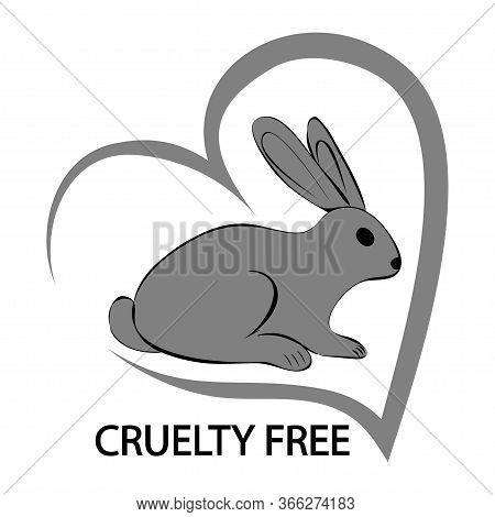 Cruelty Free Concept Logo Design With Rabbit Symbol. Hand Drawn Heart With Lettering Cruelty Free An