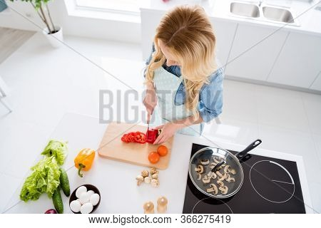 High Angle Above View Photo Of Housewife Chef Lady Hold Red Pepper Bell Cutting Knife Slices Enjoy M
