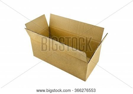 An Open, Large, Rectangular Cardboard Box Made Of Corrugated Cardboard, Isolated On A White Backgrou
