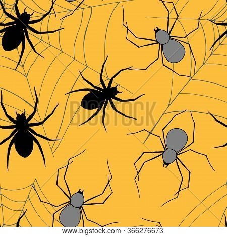 Seamless Pattern For Halloween, With Spiders And Spider Web