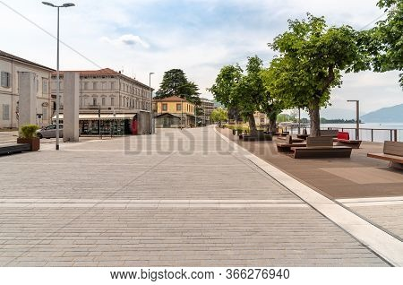 Lakefront Of The Tourist Town Luino On The Shore Of Lake Maggiore In Province Of Varese, Italy