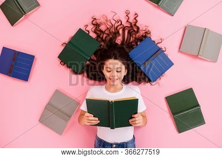 Top View Above High Angle Flat Lay Flatlay Lie Concept Portrait Of Her She Nice Lovely Focused Cheer