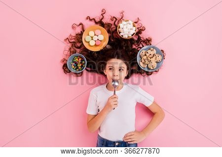 Top View Above High Angle Flat Lay Flatlay Lie Concept Portrait Of Nice Lovely Funny Cheery Hungry W