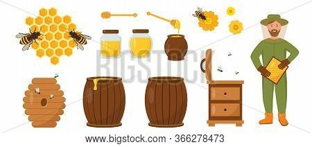 Honey And Beekeeping Set. Beekeeper With Honeycombs, Hive, Bees And Honey. Vector Icons Illustration