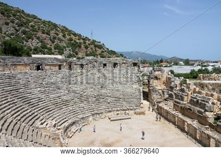 Demre, Turkey - June 03, 2019: Ruins Of The Greek-roman Amphitheatre Of The Ancient City Of Myra In