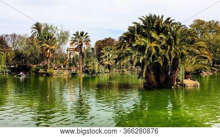 Citadel Park (Parc de la Ciutadella) in Barcelona, Catalonia, Spain. The palace of Parliament of Catalonia is located in this park.