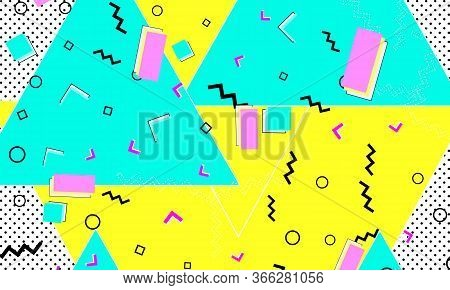 90s Design. Geometric Shapes Background. Memphis Pattern. Vector Illustration. Hipster Style 80s-90s