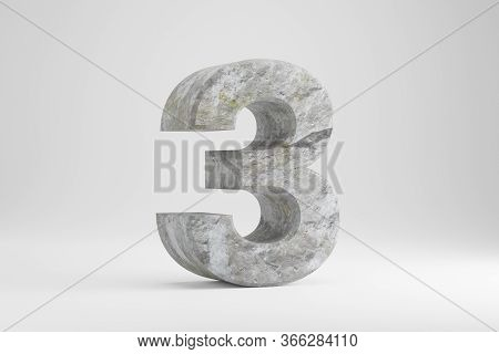 Stone 3d Number 3. Rock Textured Number Isolated On White Background. 3d Rendered Stone Font Charact
