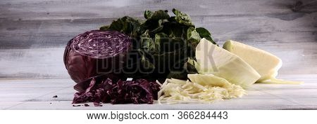 Three Fresh Organic Cabbage Heads. Antioxidant Balanced Diet Eating With Fresh Red Cabbage, White Ca