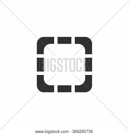 Frame Or Square Logo Design. Deploying Video. Single Flat Icon On White Background. Vector Illustrat