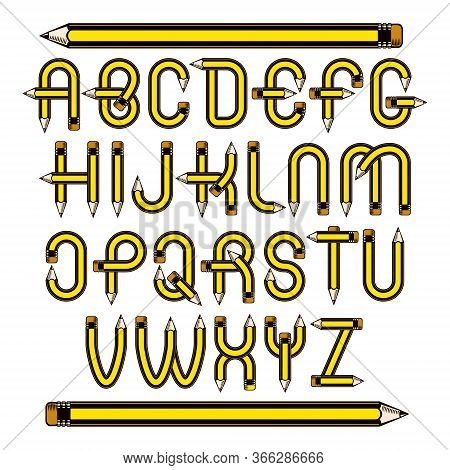 Vector Script, Modern Alphabet Letters Set Constructed With Sharp Pencils, Office Tools Design. Can