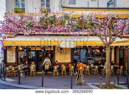 Paris, France, Feb 2020, View Of The Terrace Of