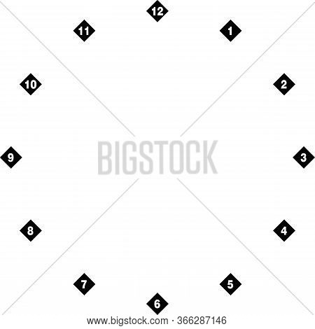 Clock Dial Negative Space Numbers On Diamond Transparent Background Designer Cut