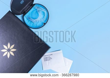 Invisible Transparent Aligners Invisalign Blue Package With A Box, Clear-plastic Retainers And Clean