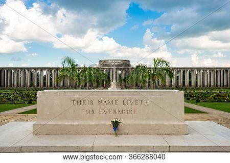 TAUKKYAN, MYANMAR - OCTOBER 20, 2015: Taukkyan War Cemetery dedicated to allied losses during WWII.