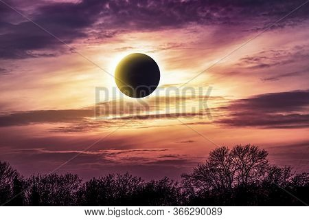 Eclipse Of The Sun  . Natural Landscape Of The Atmosphere . Cloudy Landscape