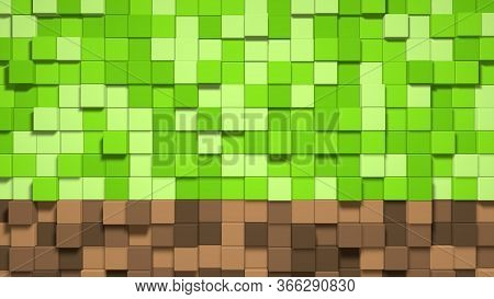 3d Abstract Cubes. Video Game Geometric Mosaic Waves Pattern. Construction Of Hills Landscape Using