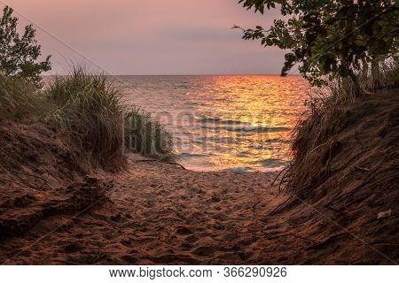 Sunset On Lake Michigan Shot From The Dunes Of Saugatuck Michigan