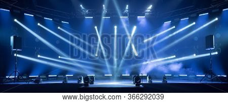 Online Event Entertainment Concept. Background For Online Concert. Blue Stage Spotlights. Empty Stag