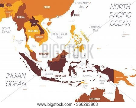 Southeast Asia Map - Brown Orange Hue Colored On Dark Background. High Detailed Political Map Of Sou
