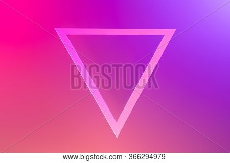 Triangle Background In Neon Light, Frame Trend 2020 Color Lush Lava, Flat Lay Top View Copy Space