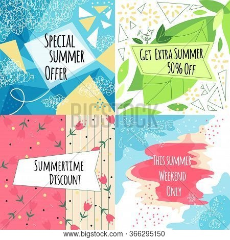 Summer Sale Vector Banners Set With Leaves And Flowers, Modern Memphis Style. Summer Sale Banner Col