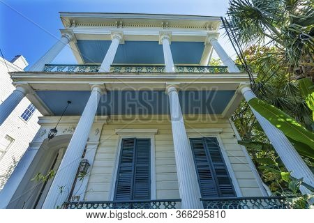 New Orleans, Louisiana, United States - October 6, 2019 Old Blue Pillars House Garden District New O