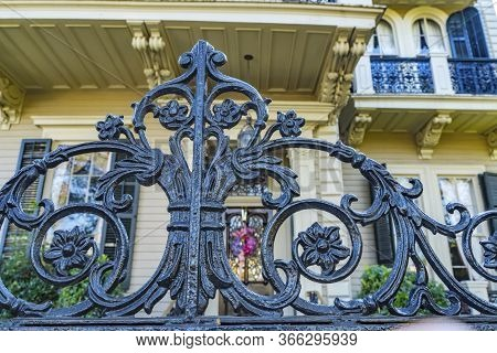 Black Wrought Iron Decorations Garden District New Orleans Louisiana