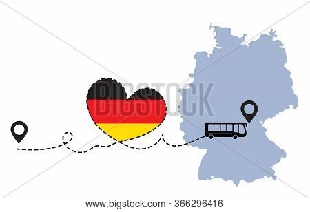 Travel To Germany By Bus Concept. I Love Germany Vector Illustration