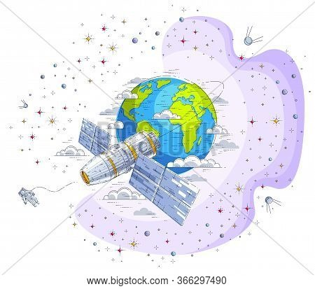 Space Station Orbiting Around Earth, Spaceflight, Spacecraft Spaceship Iss With Solar Panels, Artifi