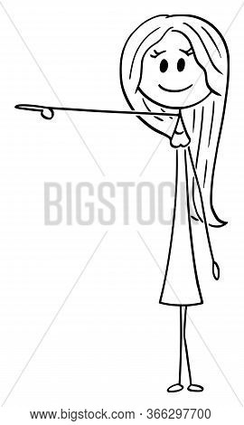 Cartoon Stick Figure Drawing Conceptual Illustration Of Young Attractive Woman Showing Or Pointing A