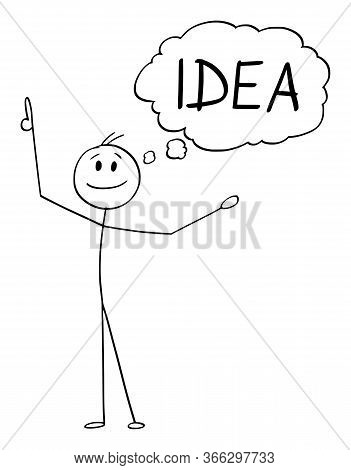 Cartoon Stick Figure Drawing Conceptual Illustration Of Happy Smiling Man Or Businessman Who Just Go