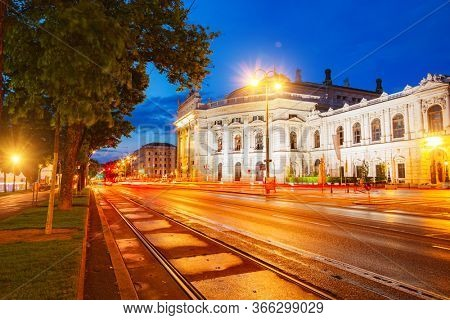 The famous historic Burgtheater in evening time. Austrian National Theatre in Vienna is tourist attraction. Location place Austria, Europe. Photo of traveling concept. Discover the beauty of earth.