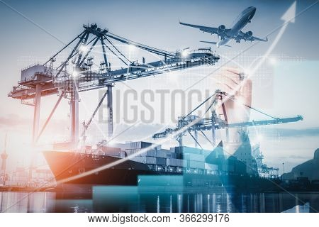 Business Logistic Transportation Container Shipping Terminal Loading Dock, Containers Import And Exp