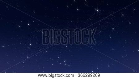 Sky stars, starry night dark blue background with starlight sparkles twinkling and blinking in universe space. Starry night sky, milky way stars twinkle shine, seamless loop