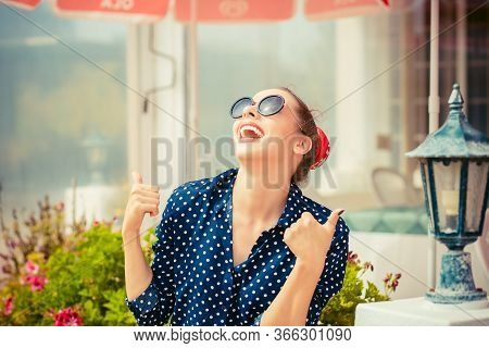 Happiness. Closeup Portrait Happy Excited Young Pretty Woman Fashion Girl With Sunglasses Blue Shirt