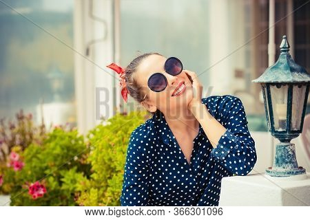 Close Up Portrait Beautiful Happy Sexy Smiling Young Woman Toothy Fashion Girl With Sunglasses Isola