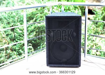 Guitar Amplifier Isolated On Green Background . Guitar Amplifier And Loudspeaker Audio Sound . Big G