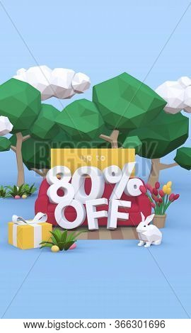 80 Eighty Percent Off - Easter Sale 3d Illustration.