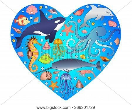 Marine Illustration In The Form Of A Heart With Marine Inhabitants Inside. Vector Image With Fish, M