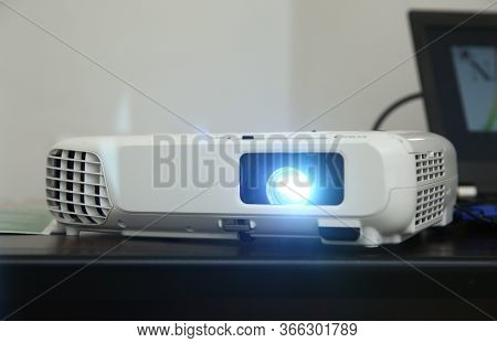 Lcd Video Projector At Business Conference Or Lecture In Office With Copy Space . Lcd Video Projecto